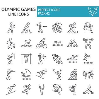 Insieme dell'icona di linea di giochi olimpici