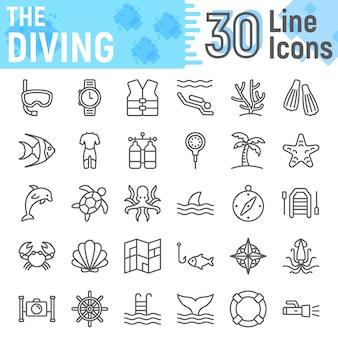 Insieme dell'icona di linea di immersioni subacquee, raccolta di simboli sottomarini