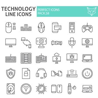 Insieme dell'icona di linea di tecnologia, collezione di dispositivi