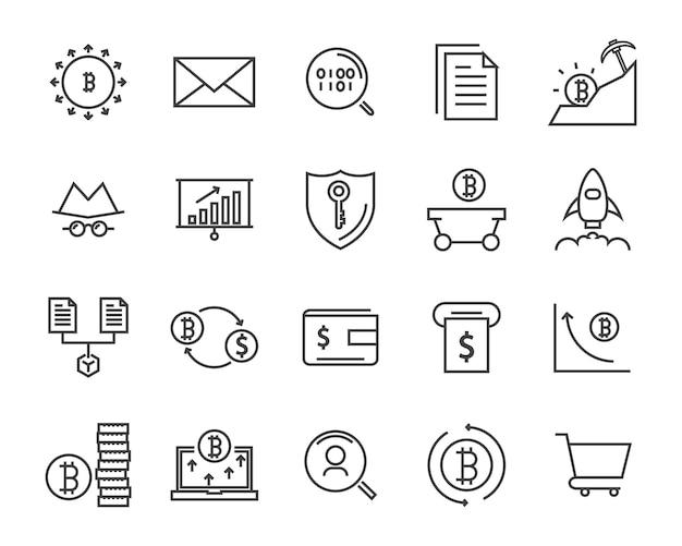 Insieme dell'icona di linea, icona di criptovaluta, collezione di icone blockchain, illustrazione vettoriale
