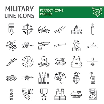Insieme dell'icona di linea militare, collezione dell'esercito