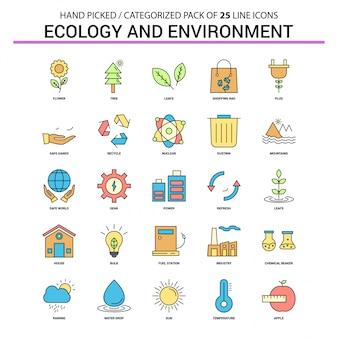 Insieme dell'icona di linea piatta ecologia e ambiente - progettazione di icone di concetto di affari
