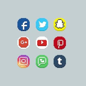 Insieme dell'icona di media del socail del cerchio del pixel.