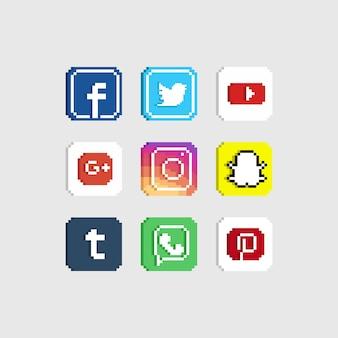 Insieme dell'icona di media di socail del pixel.