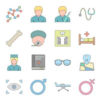 Insieme dell'icona di medico per uso personale e commerciale