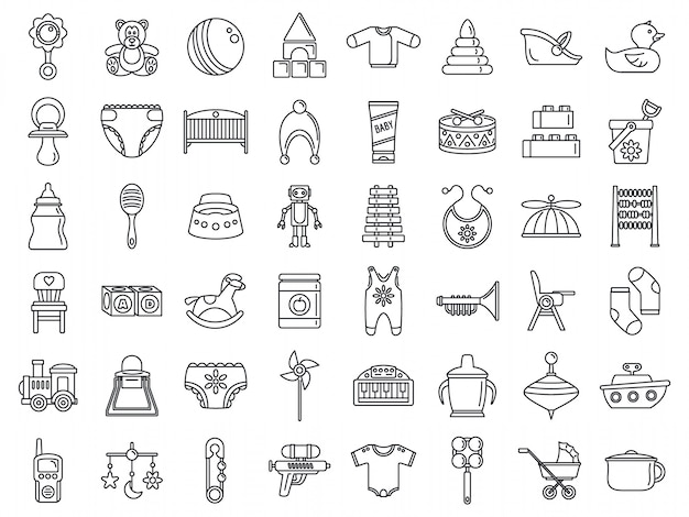 Insieme dell'icona di oggetti bambino giocattolo