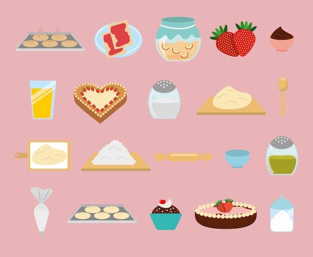 Insieme dell'icona di panetteria dolce