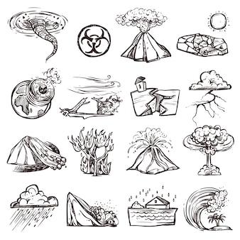 Insieme dell'icona di schizzo di disastro naturale