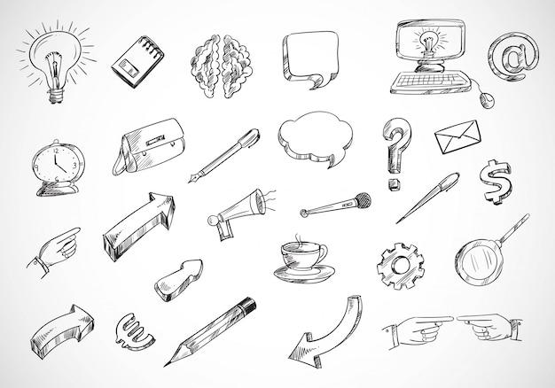 Insieme dell'icona di schizzo di tecnologia doodle