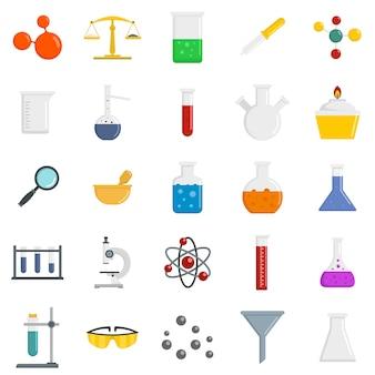 Insieme dell'icona di scienza di chimica