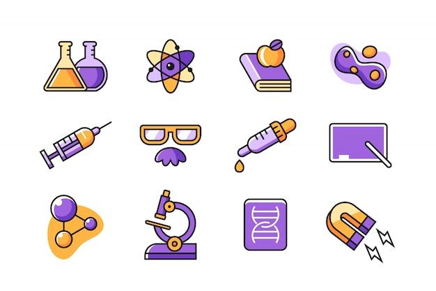 Insieme dell'icona di scienziato