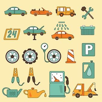Insieme dell'icona di servizio di riparazione auto auto