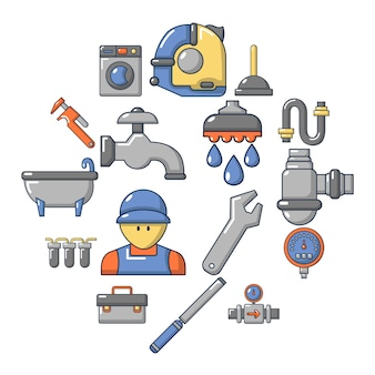 Insieme dell'icona di simboli dell'idraulico, stile del fumetto