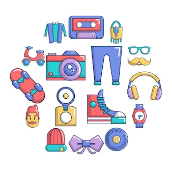 Insieme dell'icona di simboli hipster, stile cartoon
