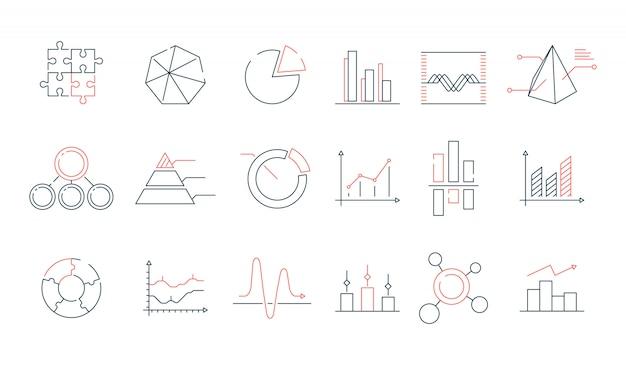Insieme dell'icona di statistiche dei grafici