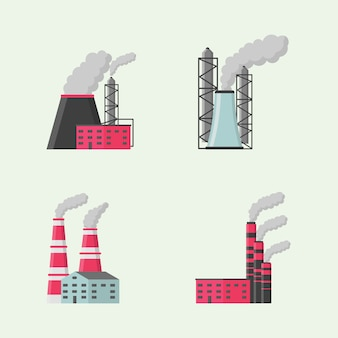 Insieme dell'icona di stile di design piatto di edificio industriale o di fabbrica. fabbriche, magazzino, trasportatore e altre strutture industriali. set di manufatti industriali, icone della costruzione.