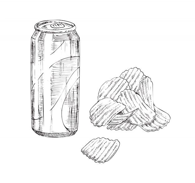 Insieme dell'icona di stile monocromatico schizzo di patatine e soda