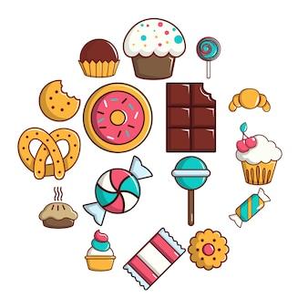 Insieme dell'icona di torte di caramelle dolci, stile del fumetto