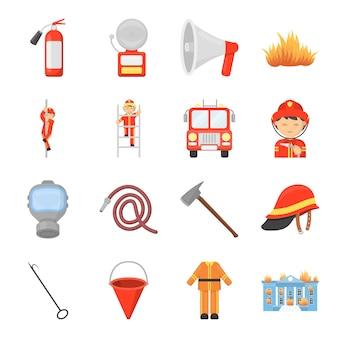 Insieme dell'icona di vettore del fumetto dei vigili del fuoco. illustrazione vettoriale dei vigili del fuoco.
