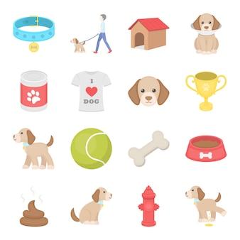 Insieme dell'icona di vettore del fumetto del cane. illustrazione vettoriale di cane toelettatura.