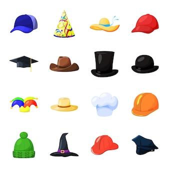 Insieme dell'icona di vettore del fumetto del cappello. illustrazione vettoriale di cappello di moda.