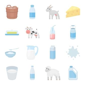 Insieme dell'icona di vettore del fumetto del latte. illustrazione vettoriale di latte alimentare.