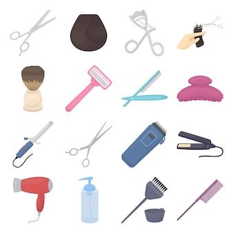 Insieme dell'icona di vettore del fumetto del parrucchiere. illustrazione vettoriale di parrucchiere e salone.