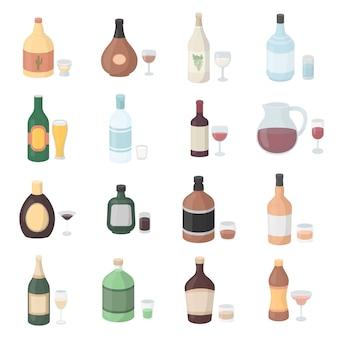 Insieme dell'icona di vettore del fumetto dell'alcool. illustrazione vettoriale bottiglia di alcol.