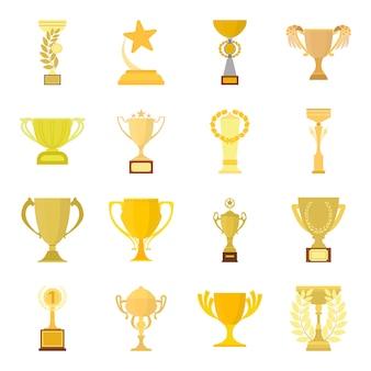Insieme dell'icona di vettore del fumetto della tazza del vincitore. illustrazione vettoriale della tazza del vincitore del premio.