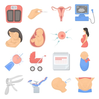 Insieme dell'icona di vettore del fumetto di gravidanza. illustrazione vettoriale di gravidanza e bambino.