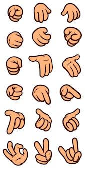 Insieme dell'icona di vettore di gesto di mano bianca del fumetto