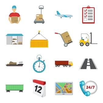 Insieme dell'icona di vettore logistico del fumetto. illustrazione vettoriale di logistica e consegna.