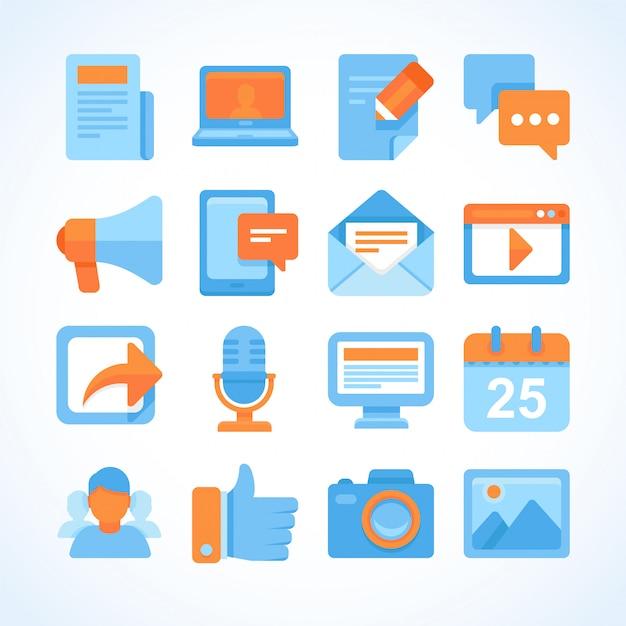 Insieme dell'icona di vettore piatto di simboli di blogging