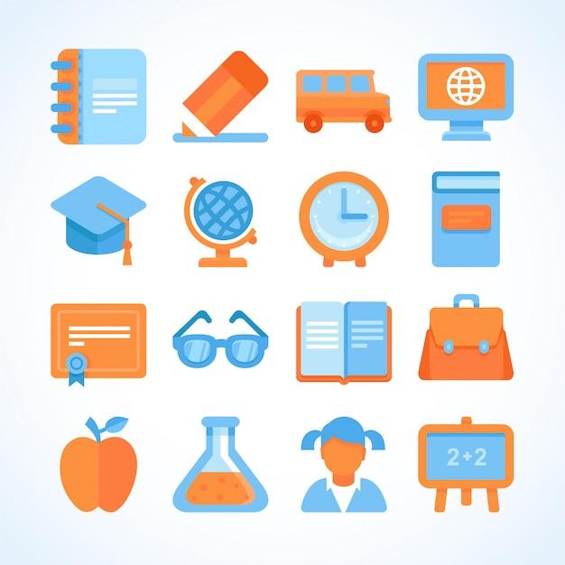 Insieme dell'icona di vettore piatto di simboli di educazione