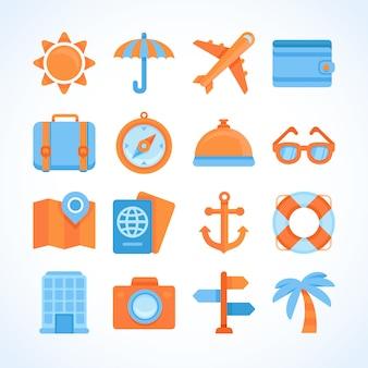 Insieme dell'icona di vettore piatto di simboli di viaggio