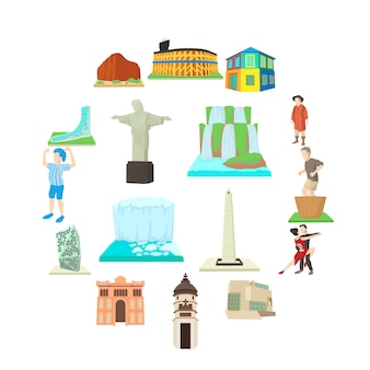 Insieme dell'icona di viaggio dell'argentina, stile del fumetto