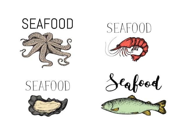 Insieme dell'icona disegnata a mano d'annata dei frutti di mare