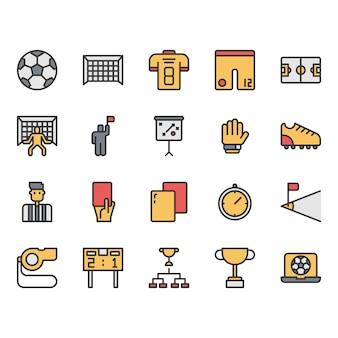 Insieme dell'icona e di simboli delle attrezzature di calcio o di calcio