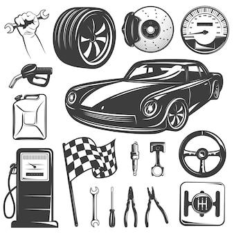 Insieme dell'icona isolato il nero del garage di riparazione dell'automobile con gli accessori e le attrezzature degli strumenti per l'illustrazione automatica di vettore dell'officina riparazioni