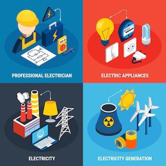 Insieme dell'icona isometrica 3d di elettricità