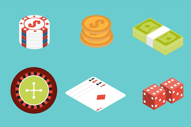 Insieme dell'icona isometrica di gioco d'azzardo