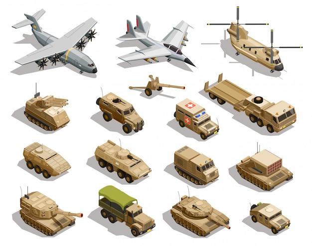 Insieme dell'icona isometrica di trasporto militare