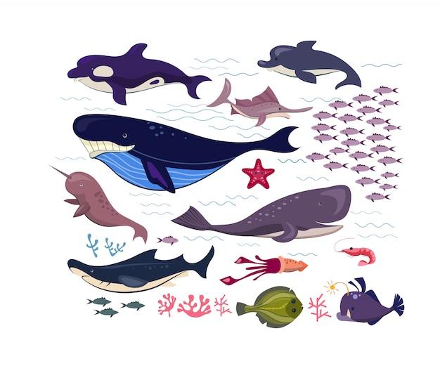 Insieme dell'icona piatto di pesci e animali subacquei