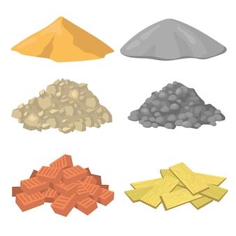 Insieme dell'icona piatto di vari mucchi di materiale da costruzione