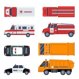 Insieme dell'icona piatto di vari veicoli di emergenza