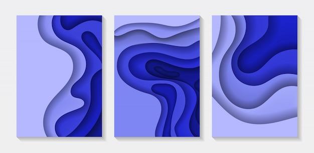 Insieme dell'illustrazione astratta di arte della carta di colore 3d del fondo. sfondo sfumato fluido.