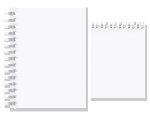 Insieme dell'illustrazione bianca di vettore del taccuino in bianco