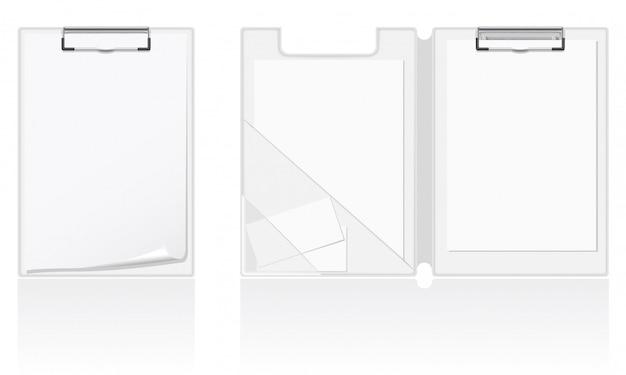 Insieme dell'illustrazione bianca di vettore della cartella in bianco