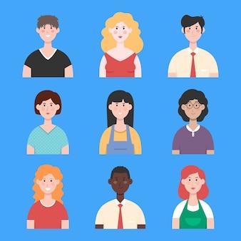 Insieme dell'illustrazione degli avatar della gente