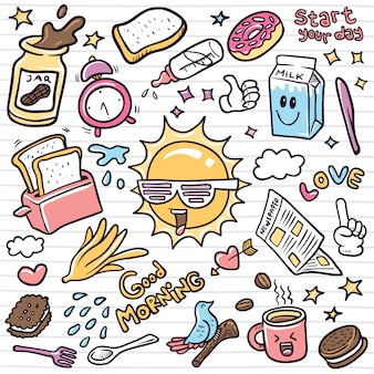 Insieme dell'illustrazione degli elementi di doodle di kawaii